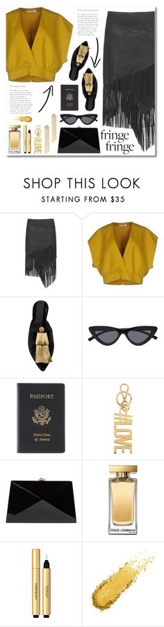 """black fringe"" by janajane90 ❤ liked on Polyvore featuring Jil Sander, Sanayi 313, Royce Leather, Givenchy, Rocio, Dolce&Gabbana, Yves Saint Laurent, gold, travel and black"