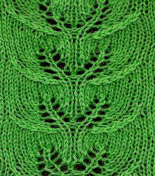 Twin Leaf Lace - Knittingfool Stitch Detail (use for custom fit) Leaf Knitting Pattern, Spool Knitting, Knitting Stiches, Cable Knitting, Knitting Charts, Knitting Patterns, Crochet Patterns, Knit Stitches, Lace Patterns
