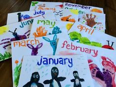 Children's handprint and footprint calendar - cute ideas for each month