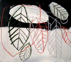 Shohei Hanazaki. big leaves  acrylic and pastel on canvas.530×455mm