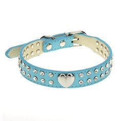 Crystal Bling PU Leather with 2 Rows Rhinestone Bling Heart Studded Leather Dog Collar For Small Pet Collar * Hurry! Check out this great product : Cat Collar, Harness and Leash