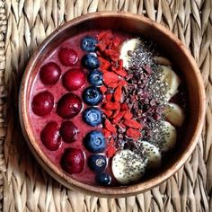 Raw Vegan Cherry Açaí Bowl | Breakfast Criminals :  1 Sambazon açaí smoothie pack 1/3 cup Frozen blackberries 1 Frozen peach 1 ripe banana 1 tbsp maca 2 tbsp raw cacao nibs 1 cup coconut water Topped with: cherries, blueberries, goji berries, banana and chia seeds.