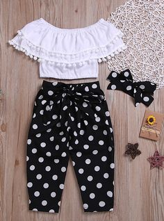 Check out this great stuff I just found at PatPat!-- Fashionable Off Shoulder Pompon Flounced Top and Polka Dots Pants Set