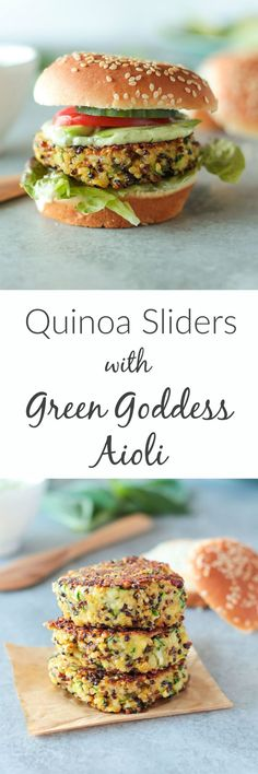 Quinoa Sliders with Green Goddess Aioli- a yummy vegetarian appetizer (or main course) for Memorial Day or any Summer cookout! Burger Recipes, Veggie Recipes, Vegetarian Recipes, Healthy Recipes, Healthy Food, Healthy Eating, Delicious Recipes, Veggie Dinners, Clean Eating