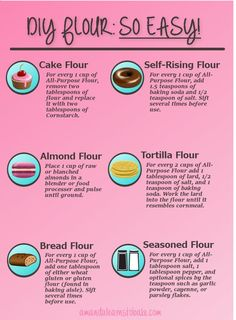 cool DIY cake flour, DIY self-rising flour, DIY bread flour and MORE! Why buy a new b...