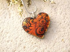 Red Glass Heart Necklace Dichroic Jewelry Fused by ccvalenzo
