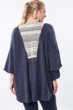Plus Size Navy Kimono Cardigan With Lace Detail #plussizetops #plussizecardigan #plussizefashion