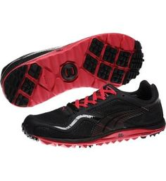 lightweight mesh ladies golf shoes in black and pink #Golf4Her #puma