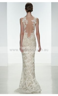 sku:fibf1018; Silhouette:Sheath; Hemline:Floor-length; Fabric:Lace; Colour:Ivory; Sleeve Length:Sleeveless;