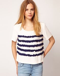 Textile Elizabeth and James Stripe Top with Ruffle Detail