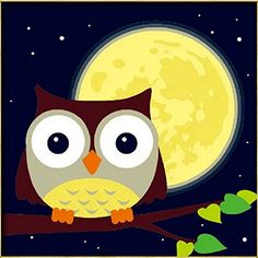 """Diy oil painting, paint by number kits for kids - Owl and yellow moon 8""""X 8"""". * For more information, visit"""