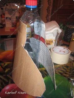 Видео Декор предметов Мастер-класс Аппликация Бумагопластика Моделирование конструирование Бутылка любой формы ЛЕГКО +МК Бумага Бутылки пластиковые Клей Скотч фото 17