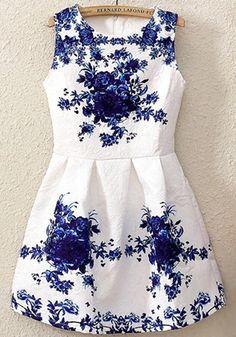 White Floral Print Pleated Round Neck Sleeveless Elegant A-line Skater Acrylic Dress