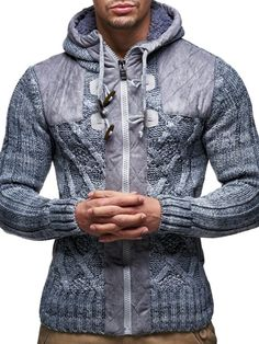 LEIF NELSON cardigan Chaqueta hombres tejer suŽter LN20225; Tama-o S, gris