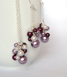 Bridesmaid Jewelry Set - Lilac, Aubergine, and Lavender Pearl. $20.00, via Etsy.