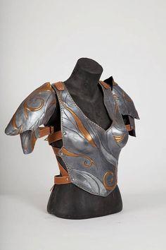 Female leather Armor Female pauldron Coirass by LaForjadePrometeo