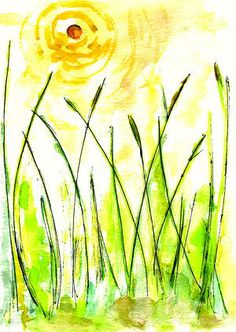 """AFRICAN GRASS, """"My Far Away Place Called Home,"""" Watercolor, Ink and Pastel on Paper."""