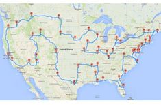 If you really wanted to see America, travel by car to every contiguous state and hit all the famous landmarks on your way. Michigan State University doctoral student Randy Olson worked out the route, shown above. You can see the full-size map here.