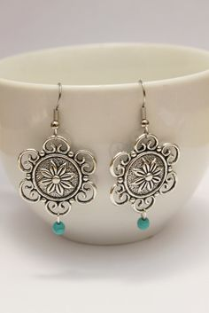 FLOWER GIRL-delicate silver plated dangle earrings Native Vintage Ethnic look Bohemian Boho Bride Handcrafted Hippie Gypsy Gift for her on Etsy, $12.00