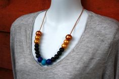 Bronze, Gold, Black & Blue Polymer Clay Bead Necklace
