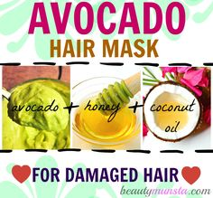 This avocado hair mask contains the goodness of avocado, honey and coconut oil to repair damaged & dry locks Oil For Curly Hair, Hair Mask For Damaged Hair, Hair Mask For Growth, Diy Hair Mask, Hair Masks, Avocado Hair Mask, Coconut Oil Hair Growth, Coconut Oil Hair Mask, Dry Frizzy Hair