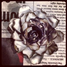 Melted plastic spoon flower success!- I like the two tones here