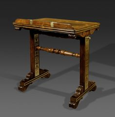 An Important Regency Rosewood and Brass-Inlaid Reading Table by Gillows of Lancaster - Hyde Park Antiques, Ltd.