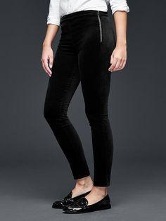 Velvet side-zip pull-on leggings