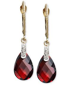 14k Gold Earrings, Garnet (7-1/5 ct. t.w.) and Diamond Accent Brio Drop