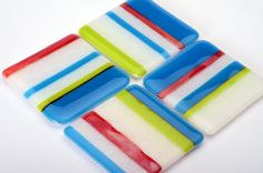 Summer Stripes Fused Glass Coaster Set of 4, turquoise, 3.5, lime green, white textured, and warm red stripes via Etsy