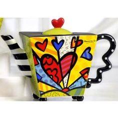 Romero Britto Teapot Square Heart Ceramic Dolomite Tea Pot Infuser Cup Decor New $82.81