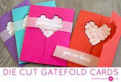 My Monthly Hero January 2017 - Die cut gatefold cards by Jennifer McGuire. Fancy Fold Cards, Folded Cards, Valentine Day Love, Valentine Day Cards, Jennifer Mcguire Ink, Interactive Cards, Die Cut Cards, Card Tutorials, Video Tutorials