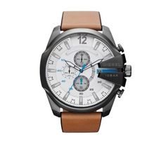 Diesel DZ4280 Mega Chief brown Leather Watch with white dial