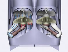 Pratt & Whitney's innovative reversed, separated and angled propulsion concept could enable certification of adjacent engines. Turbine Engine, Gas Turbine, Rocket Engine, Jet Engine, Mechanical Design, Mechanical Engineering, Air Fighter, Fighter Jets, Blended Wing Body