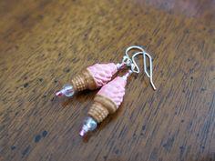 Pink Ice Cream Cone Dangle Earrings - Strawberry Soft Serve - Sterling Silver earwires - Kid's Earrings - Pink - Girl's Tween Teens Teen