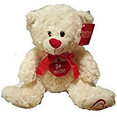 Valentine's Day Teddy Bear - Features Red Ribbon - White