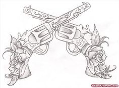 Flowers And Guns Tattoos Designs