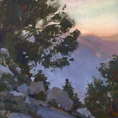 Mike Hernandez  Owens Valley from Mt Whitney Portal 6x6 gouache