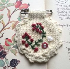 Embroidered brooch hand knitted - kilt pin by Laviniaslegacy on Etsy