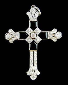 Platinum Diamond Onyx Cross Pendant -