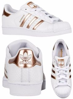 Adidas Women Shoes - Adidas Originals Superstar - White/Copper Metallic - We reveal the news in sneakers for spring summer 2017 Adidas Shoes Women, Adidas Sneakers, Shoes Sneakers, Adidas Zx, Yeezy Shoes, Sneakers Women, Women's Shoes, Dance Shoes, Cute Shoes