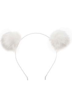 **White Pom-Pom Ears Headband by Orelia