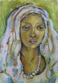 Betty Wilkins [Georgetown, Texas, USA] (after Irma Stern): Malay Girl, 2012, painted in Betty Wilkins' handmade journal, collage, acrylics and water soluble ..