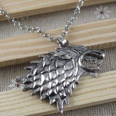 Game of Thrones Stark Direwolf Vintage Silver Pendant Inspired Necklace MC2129 #New #Fashion