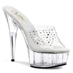 6 Inch Clear Rhinestone Stripper Slides Sexy Platform Sandals Sexy Shoes Size 11 *** You can find more details by visiting the image link. (This is an affiliate link) Clear High Heels, Clear Shoes, Open Toe Sandals, Slide Sandals, Wedge Sandals, Slip On Sneakers, Slip On Shoes, Women's Shoes, Clogs