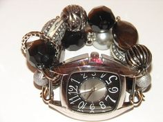 Black and Silver and Charcoal Beaded Watch Black by BeadsnTime, $30.00