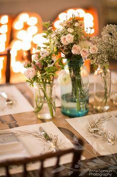 Anna and Spencer Photography, Atlanta Wedding Photographers. Piedmont Park Dock Wedding, Mason jar floral arrangement, Flowers by Holly Bryan Floral & Botanical Design.