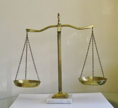 Vintage Scales of Justice Marble and Brass Traditional Lawyer Office Decor Mid Century Law