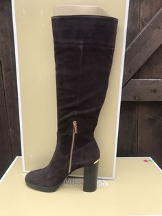 704197365ab1 Michael Kors Regina Suede Boots in Coffee  fashion  clothing  shoes   accessories