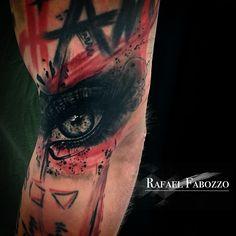 Realistic Trash Eye Tattoo by Rafael Fabozzo Eagle Tattoos, Color Tattoo, Body Art Tattoos, Superhero, Eyes, Colors, Eye Tattoos, Colour, Cat Eyes